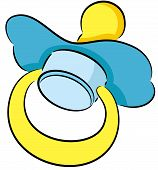 pic of teething baby  - Illustration of a rubber or silicone cartoon pacifier used by a newborn baby to suck or chew on during teething - JPG