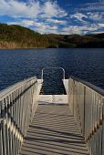 picture of dock a lake  - Swimming pier dock on Chilhowee Lake in Tennessee - JPG