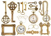 stock photo of compasses  - golden antique accessories - JPG