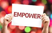 stock photo of empower  - Empower card with colorful background with defocused lights - JPG