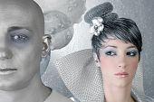 Постер, плакат: Fahion макияж прическа женщина футуристический Серебряная чужеродных