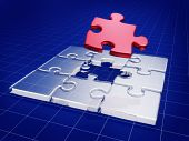 pic of business success  - Jigsaw puzzle with business graph background 3d illustration - JPG