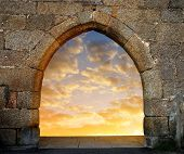 stock photo of gates heaven  - Gate to heaven with the setting sun - JPG