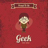 image of geek  - cartoon geek girl character theme vector art illustration - JPG