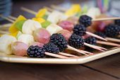 picture of blackberries  - Fruits on a toothpick grapes blackberries banana - JPG