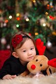 picture of snuggle  - Little Girl Under the Christmas Tree Snuggling with her Reindeer - JPG