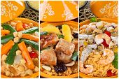 pic of tagine  - Tajine collage with three types of preparation meat fish and vegetables - JPG