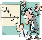 picture of panic  - Concept Cartoon Illustration of Economic Crisis and Panic Businessman - JPG