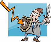 foto of crisis  - Concept Cartoon Illustration of Businessman fighting with Economic Crisis or Recession - JPG