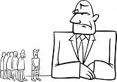 image of cartoon people  - Black and White Concept Cartoon Illustration of People in Bank - JPG