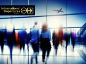 image of board-walk  - Business People Walking Rushing Flying Airport Concept - JPG