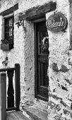 stock photo of front-entry  - Black and White image of front door of restaurant - JPG