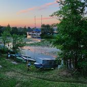 stock photo of dnepropetrovsk  - Summer sunrise on the boat station - JPG