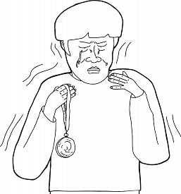 image of spoiled brat  - Outline cartoon of distraught man holding medal - JPG