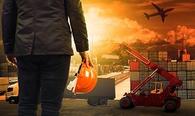 image of forklift  - working man in container dock and land air transport import export logistic cargo freight and shipping commercial service industry - JPG