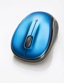 image of fancy mouse  - Small blue wireless mouse for portable laptop - JPG