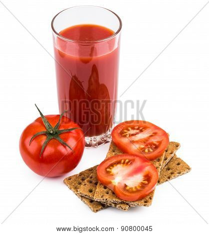 Wheat Crisp Bread And Tomato Juice In Glass Isolated On White