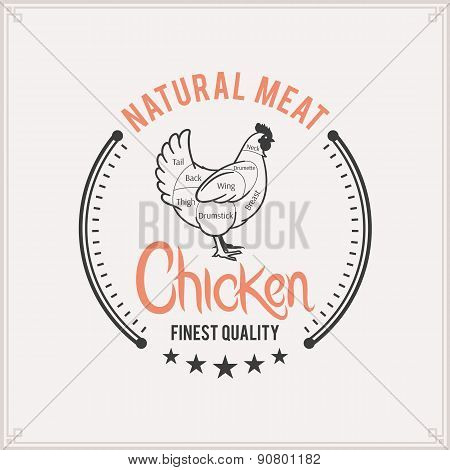 Butcher Shop Label Template, Chicken Cuts Diagram