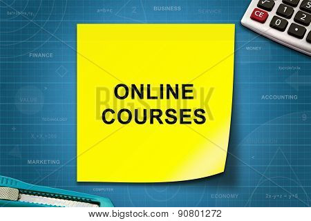 Online Courses Word On Yellow Note