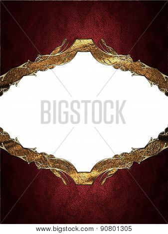 Abstract Red Frame With Gold Border. Design Template. Design Site