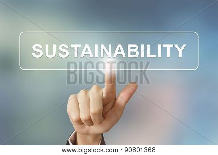 Business Hand Clicking Sustainability Button On Blurred Background