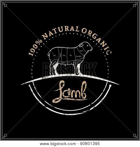 Retro Styled Butcher Shop Label Template, Lamb Cuts Diagram