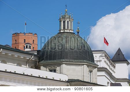 View to the cupola of the Cathedral with Gediminas tower at the background in Vilnius, Lithuania.