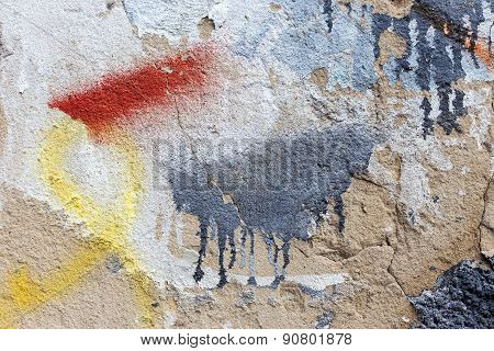 Zhitomir, Ukraine - May 6, 2015: Bullies stained facade of the old building requires urgent repairs