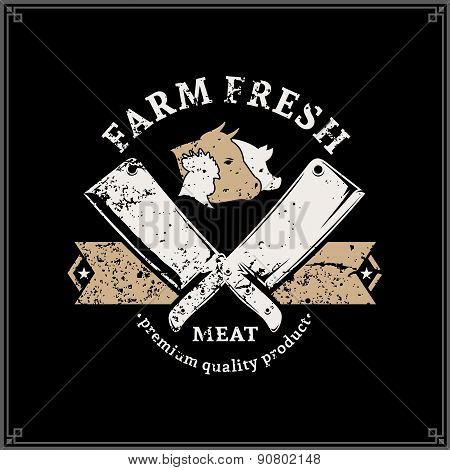 Retro Styled Butchery Logo Label Template