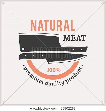Butcher Shop Label Template with Knives