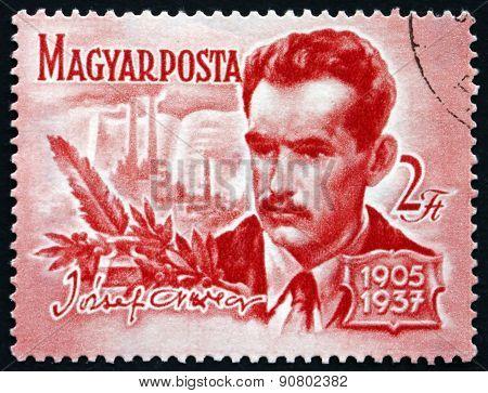 Postage Stamp Hungary 1955 Atila Jozsef, Poet