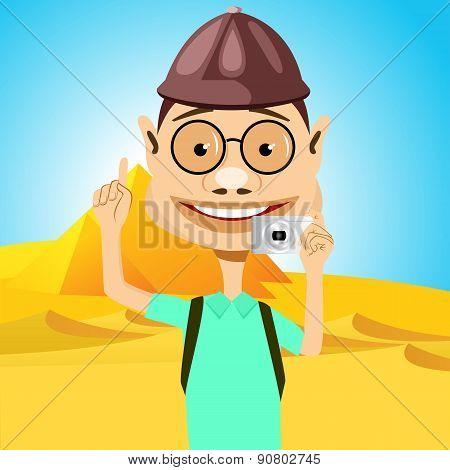 traveler in glasses standing near pyramids