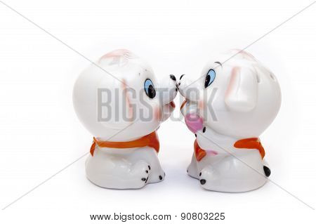 Two Dogs Ceramic Figurine, Isolated On White