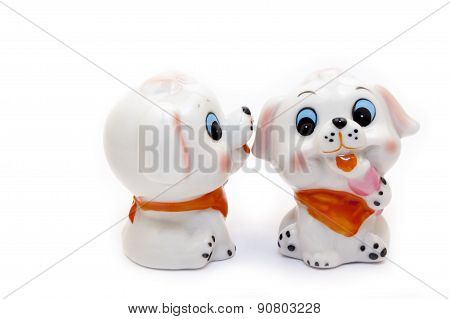 Two Dogs Ceramic Figurine