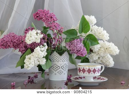 Still-life With A Lilac And A Cup Of Tea