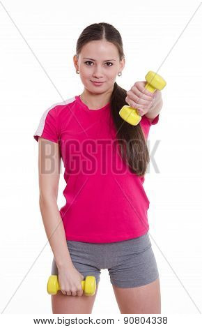 Sportswoman Raised Her Left Arm With A Dumbbell