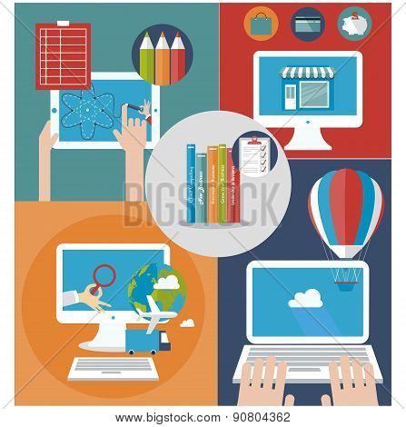 Office workspace with business items and elements