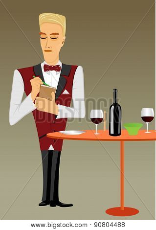meticulous punctual waiter taking order