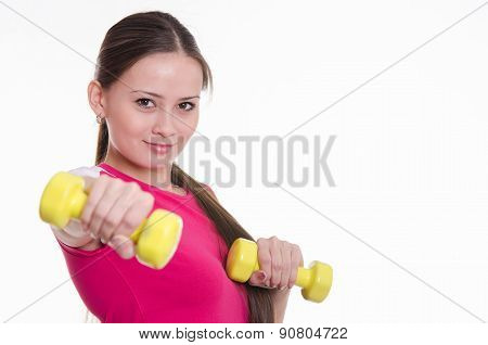 She Held Out Her Hand With A Dumbbell