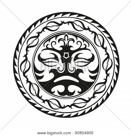 Circular Composition Of The Ornaments In The Style Of The Maori