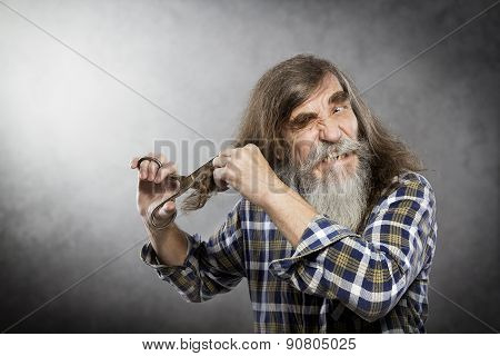 Old Man Scissors Cutting Hair, Senior Self Trim Long Hair