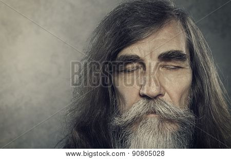 Senior Old Man Eyes Closed, Elderly People Portrait, Aged Face