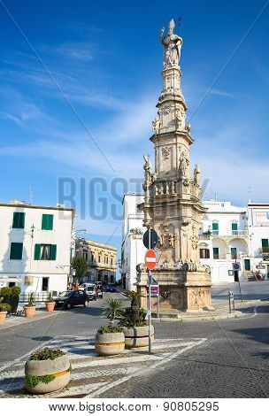 Statue Of San Oronzo In The Center Of Ostuni, Puglia, Italy
