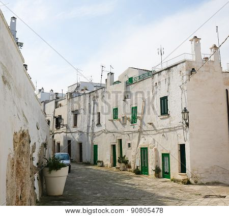 White Houses In The White City Ostuni In Puglia, South Italy