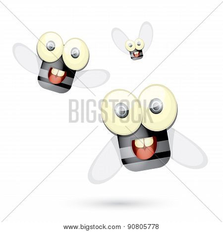 cartoon cute bright fly insect