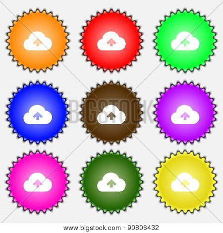 Upload From Cloud  Icon Sign. A Set Of Nine Different Colored Labels. Vector