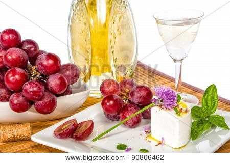 Grapes. Cheese And Wine