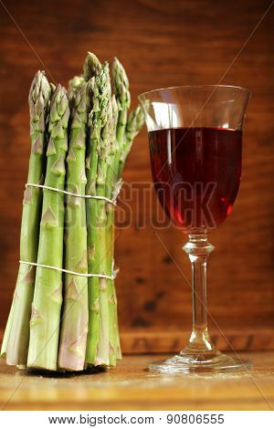 asparagus and pink wine