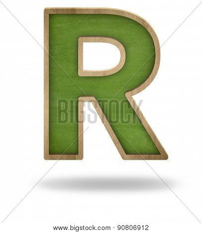 Green blank letter R shape blackboard