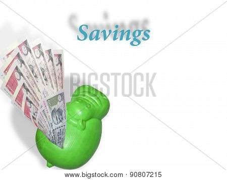 Rupee Note Or Money Liquifying To The Hippo Bank As Savings